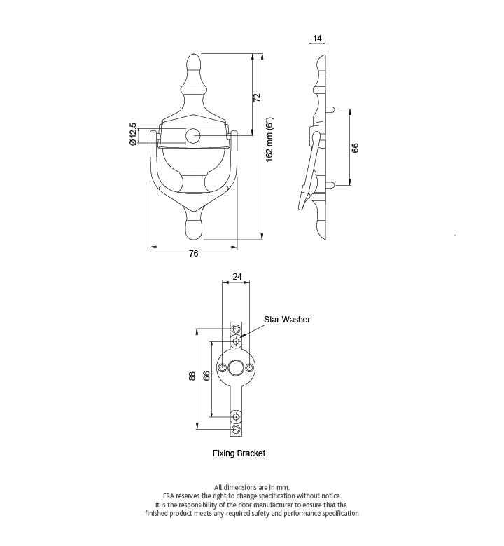 FAB /& FIX CLASSIC DOOR KNOCKER POLISHED CHROME 76 X 162MM