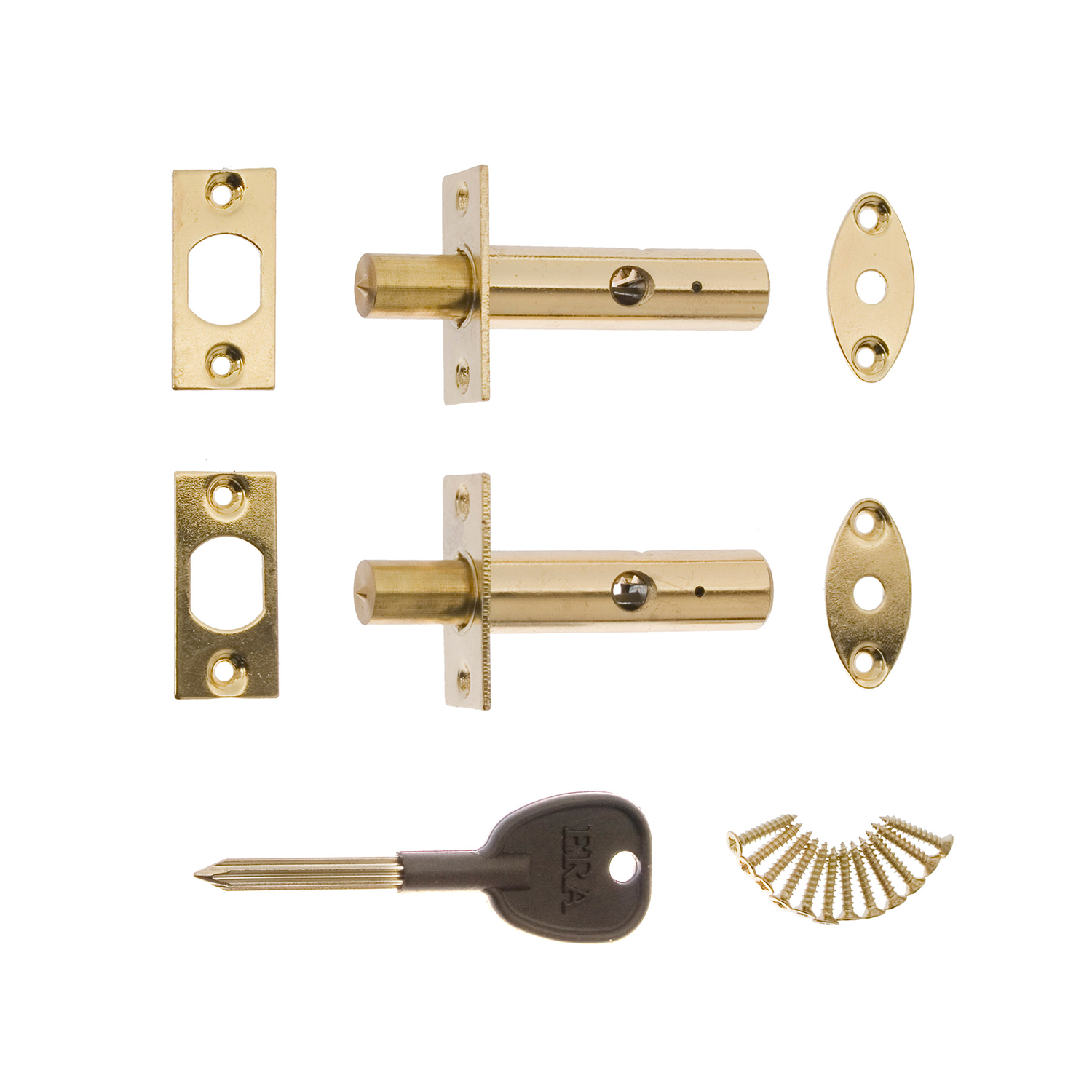 White ERA Door Security Bolt with 1 Key 2 Pieces