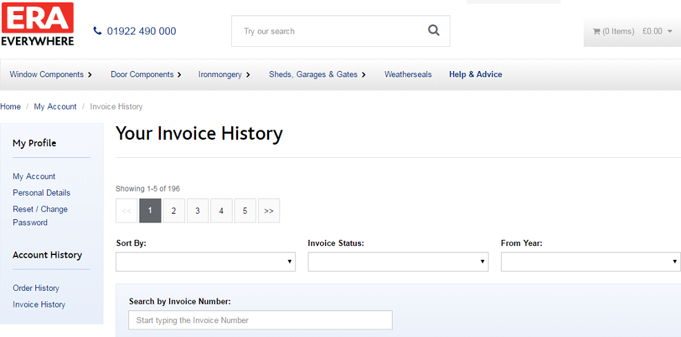 Your Invoice History Screen Capture