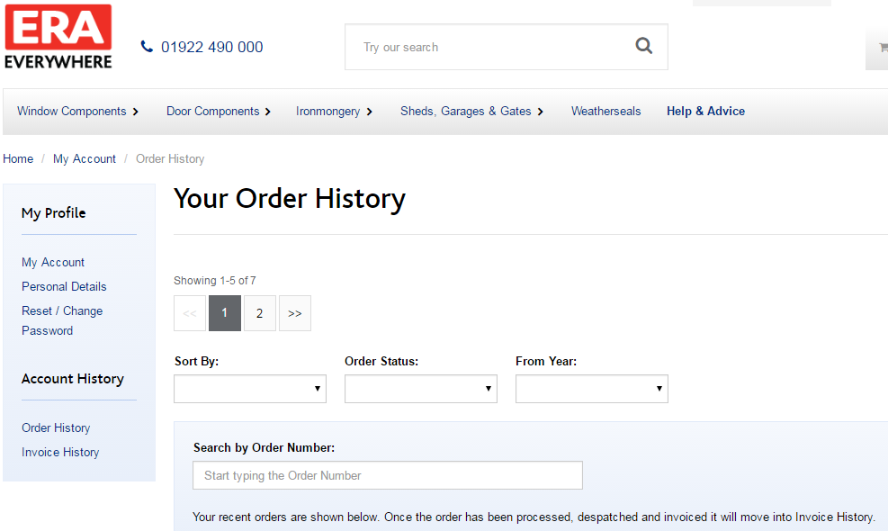Your Order History Screen Capture